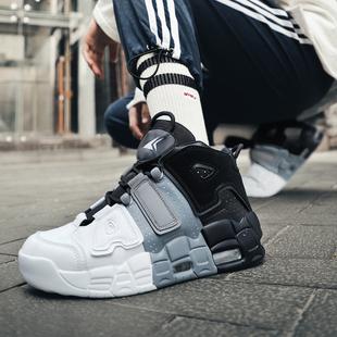 高帮鞋男夏季2021年新款潮鞋百搭增高皮蓬大air篮球运动鞋aj男鞋