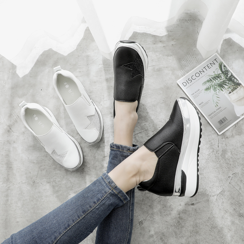 2019 womens comfortable Rhinestone round top casual shoes