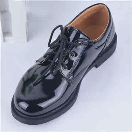 男童鞋正装小孩皮鞋男孩子儿童表演出学校园小学生少年绑带亮黑色