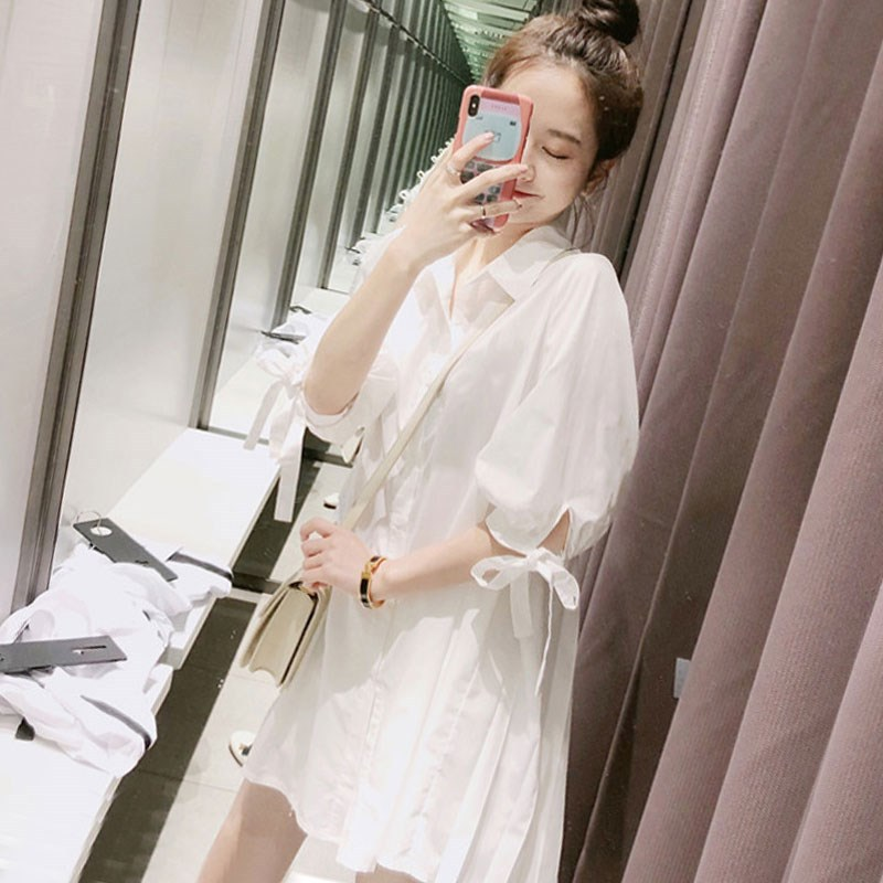 White baby dress Korean bubble sleeve cute temperament loose small A-line pleated shirt dress womens summer