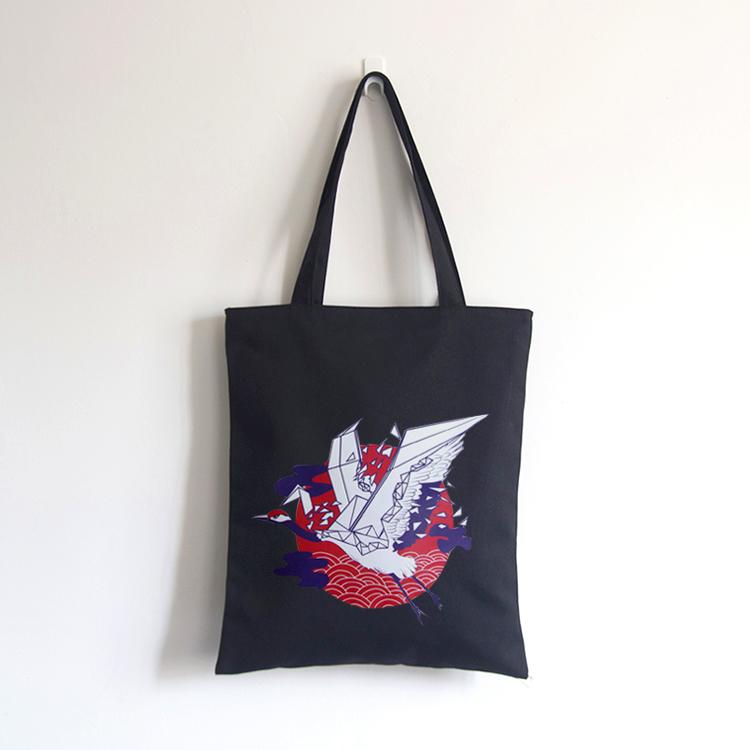 New Chinese style versatile crane zipper canvas bag female retro ethnic travel handbag Korean student storage bag