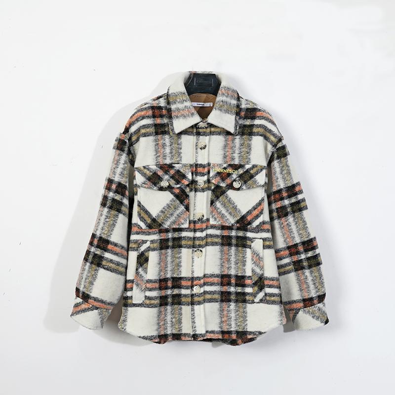 Tour-19 winter wool Long Sleeve Plaid Shirt Mens autumn winter winter jacket coat