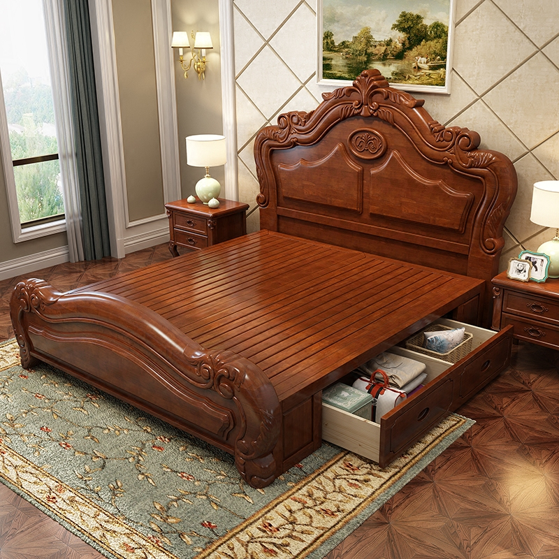 Thickened European solid wood bed soft leather bed French double storage garden wedding bed 1.8m carved big bed