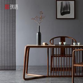 璞语新中式黑胡桃木茶桌椅组合茶台实木茶桌功夫茶台桌老榆木茶几