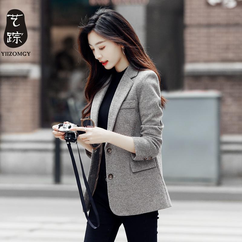 西装外套女2021春秋新款韩版休闲时尚气质小西服上衣冬季加厚毛呢