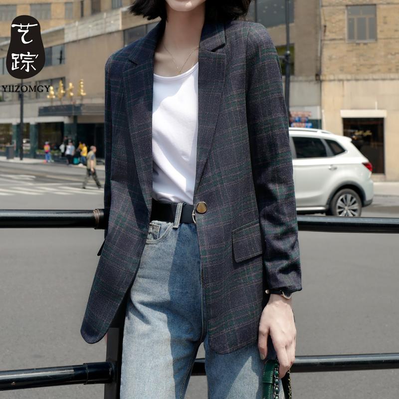 格子西装外套女春秋时尚新款英伦风复古韩版休闲宽松小西服小个子