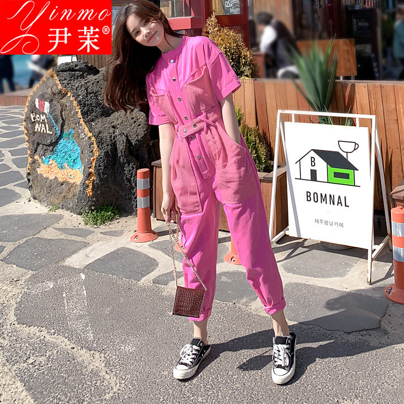Jumpsuit womens summer and Korean high waist slim loose work clothes Romper 2019 new short sleeve casual Jumpsuit trend