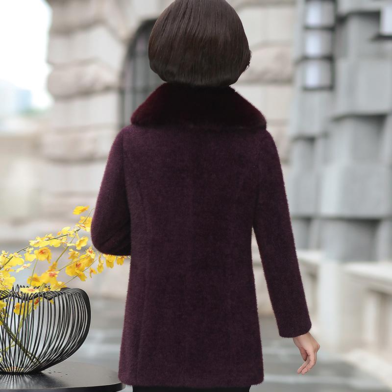 新款妈妈冬装高贵仿水貂绒毛呢外套中老年女装呢子大衣中长款2018