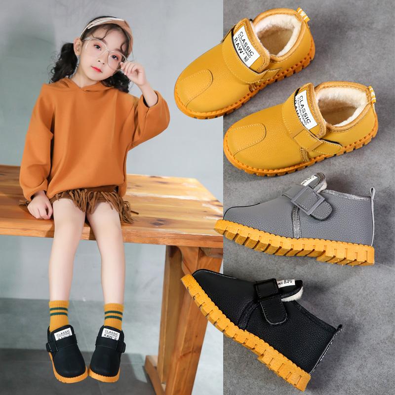 冬季儿童雪地靴女童加绒加厚棉鞋男童保暖马丁靴宝宝平底防滑短靴