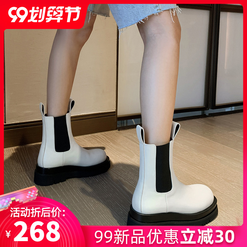 Autumn womens shoes fashion in 2020 ins net red super fire new style of inside and outside full leather soft soled one foot chimney boots
