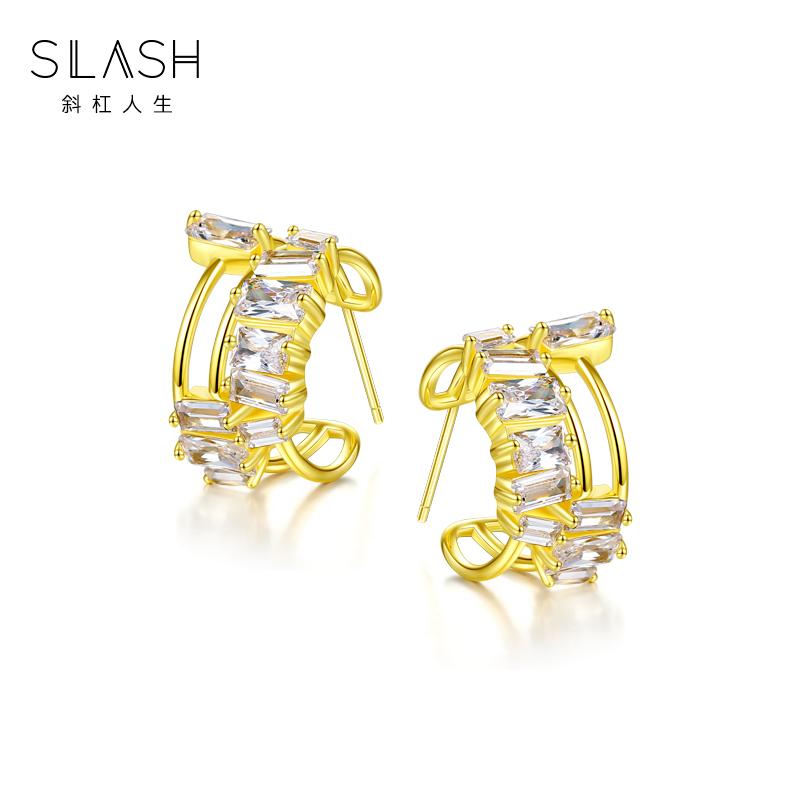 Original design Earrings female slash925 silver plated 18K Gold Earrings fashion personality Earrings inlaid with Diamond Earrings