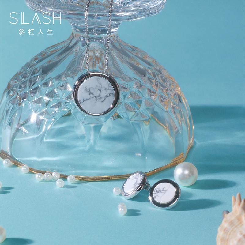 Slash Ocean series natural marble earrings for women