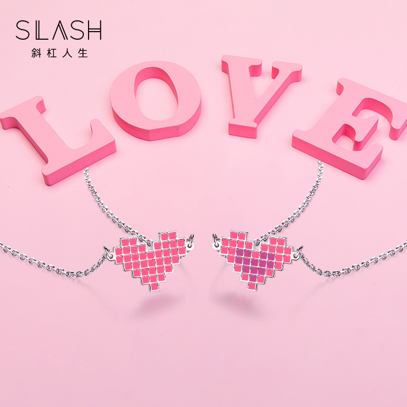 Minority brand Necklace female slash creative heart-shaped color changing Love Pendant simple and versatile clavicle chain for girlfriend