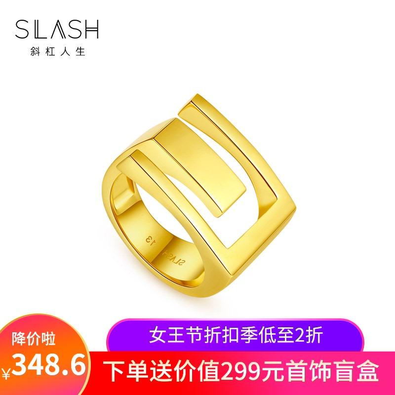 个性设计戒指女Slash/斜杠人生食指开口镂空指环礼物送女友戒指