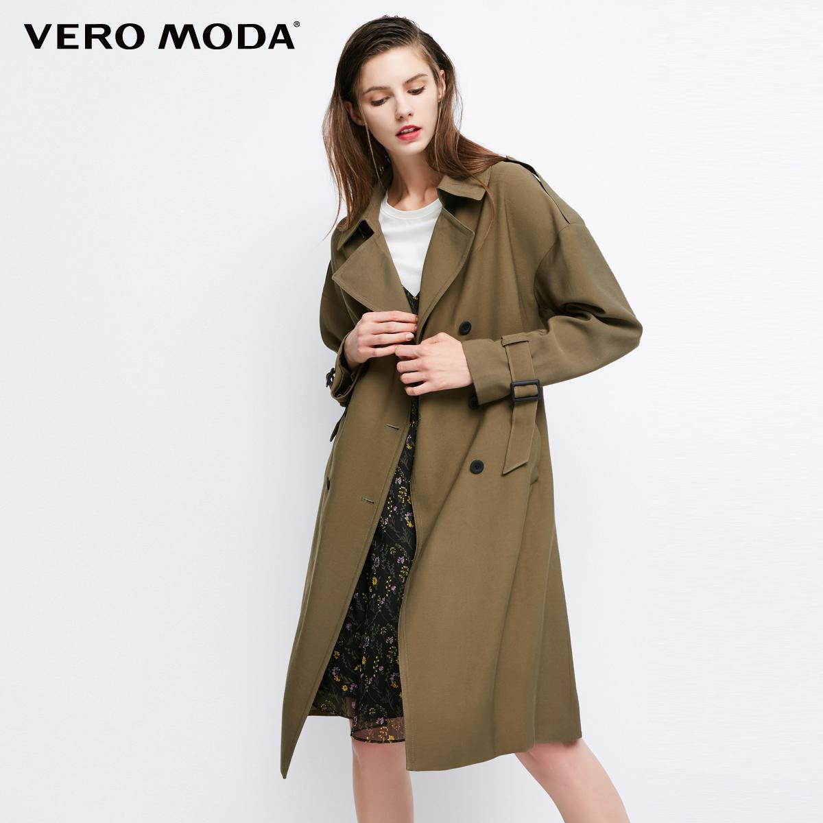 Vero Moda2017秋季新款军装风落肩双排扣中长款风衣|317321509