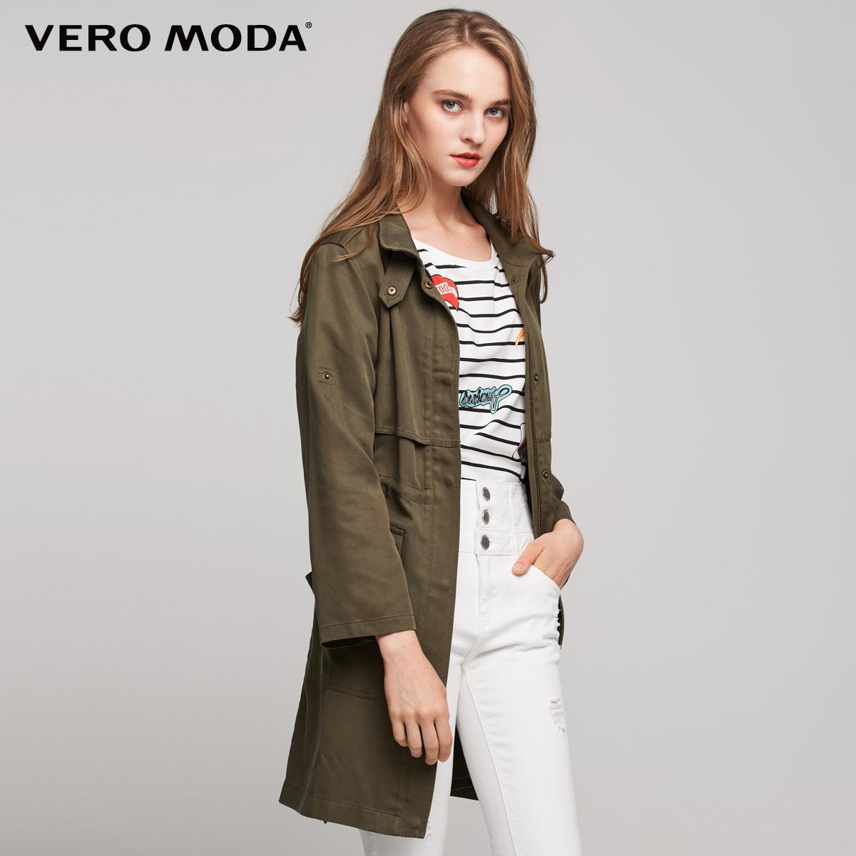 Vero Moda2017冬季新款军装风九分袖直筒风衣外套|317421501