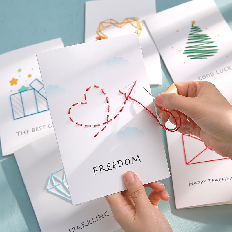 创意DIY缝线生日贺卡手工材料包女神礼物自制定制端午节卡片礼品6.8元