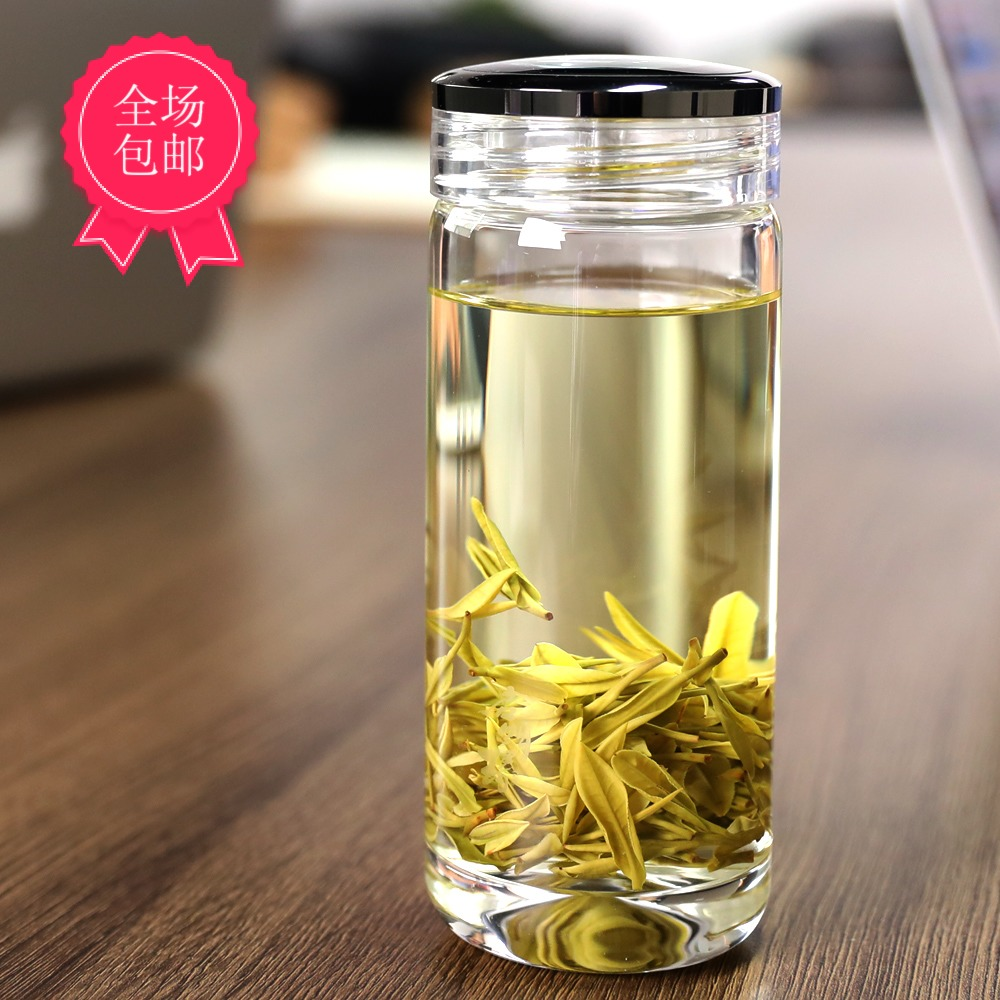 Qimingyuan glass single-layer water cup women bring tea crystal cup with cover free of charge