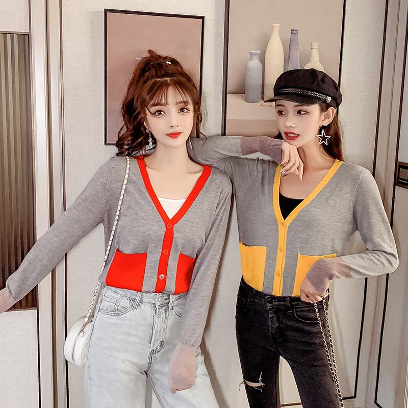 3504#实拍现货韩版复古宽松单排扣撞色V领长袖针织开衫女装潮