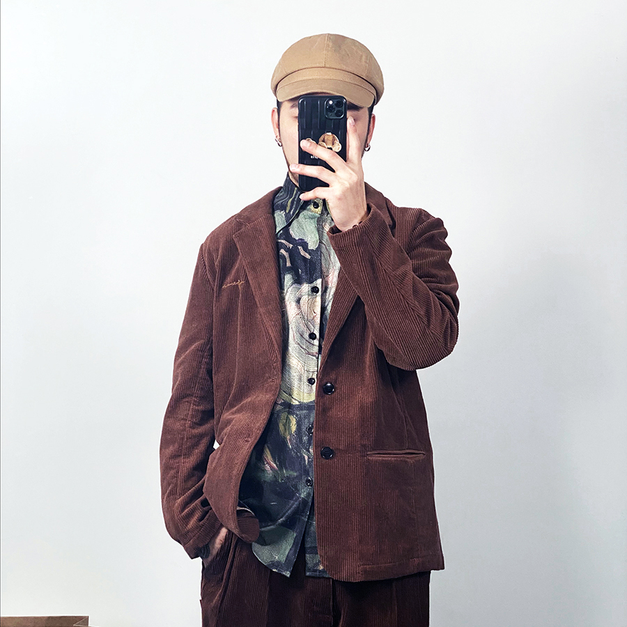 2020 spring new style casual purple corduroy single suit Western-style tiktok, the pop rob, the voice of the elegant flare jitter, jacket, suit.