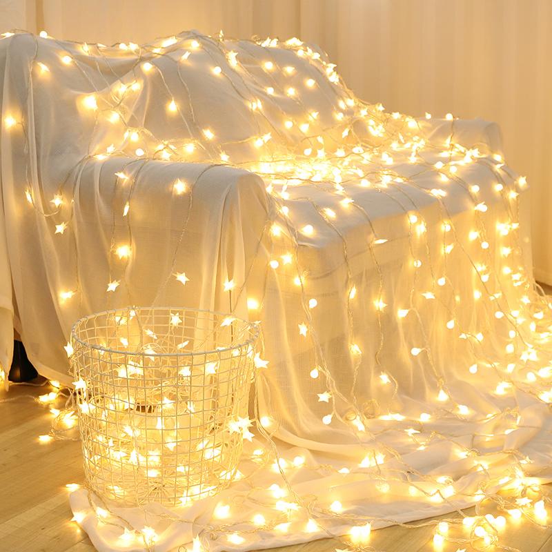 新年家用过年星星灯饰网红少女女生卧室装饰小彩灯闪灯串灯满天星