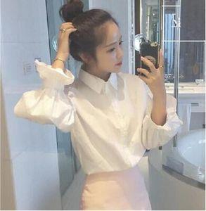 春秋天韩版女装短款衬衣搭配阔腿皮裤短裙子包裙背带裤马甲的上衣