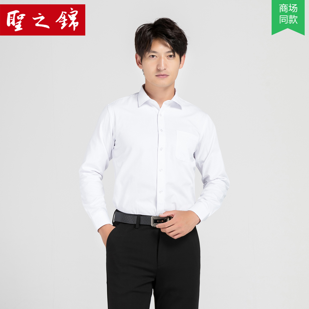Shengzhijin autumn new work clothes long sleeve white shirt mens business professional dress solid color non iron bottom shirt