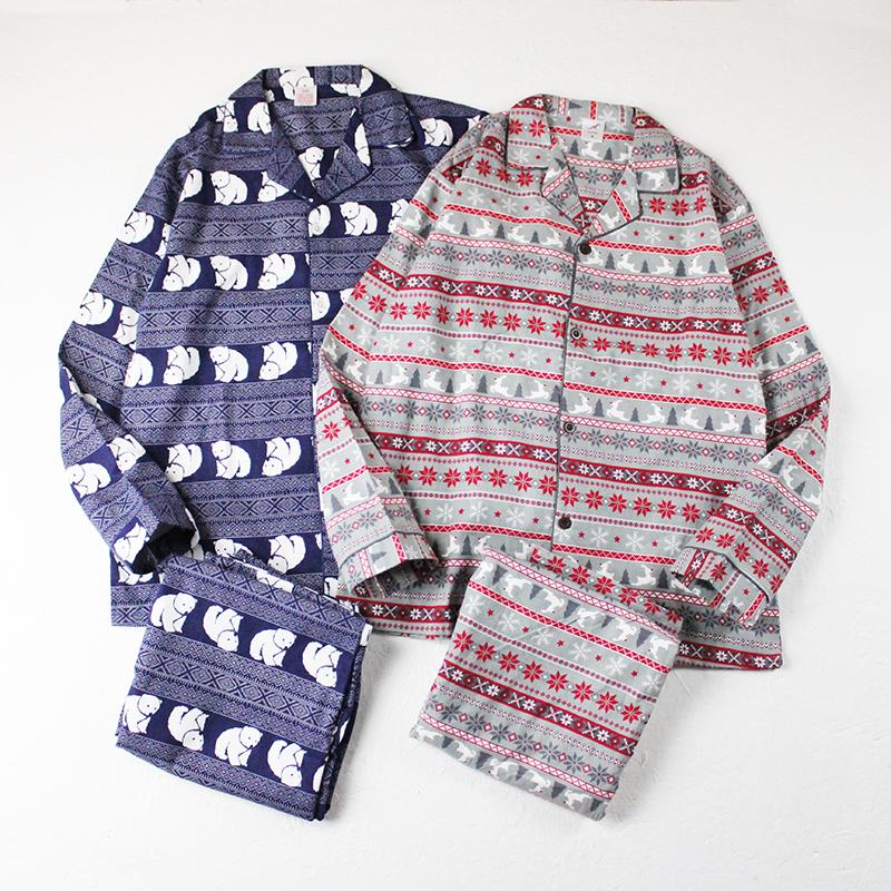 舒适纯棉北欧风男款睡衣家居服秋冬款套装宽松起居服全棉磨毛新款