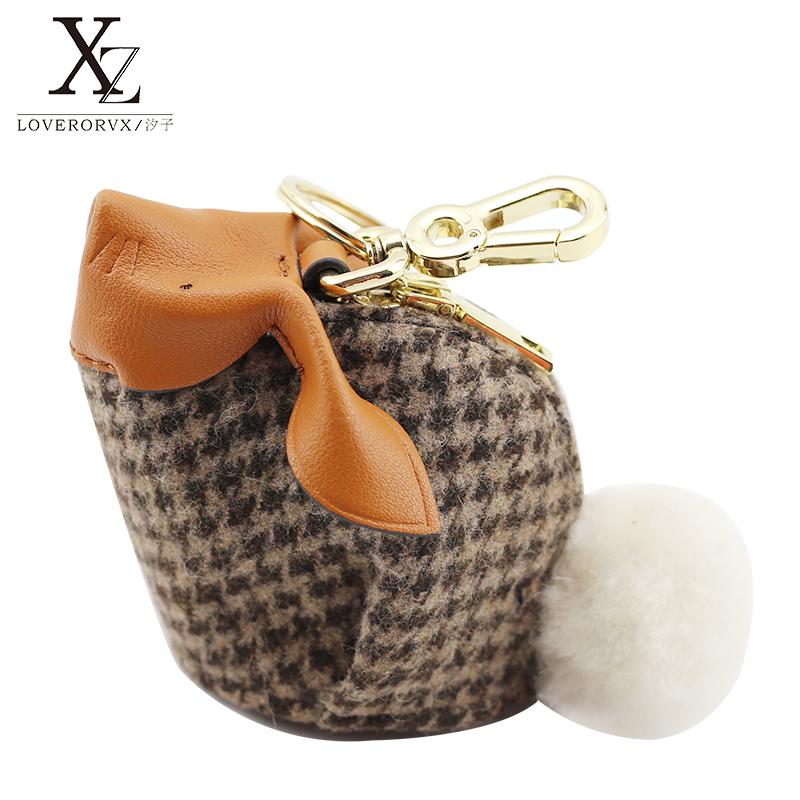 Loveroruxi cartoon fashion Lamb Fur Plaid leather key bag wallet Mini Rabbit Pendant