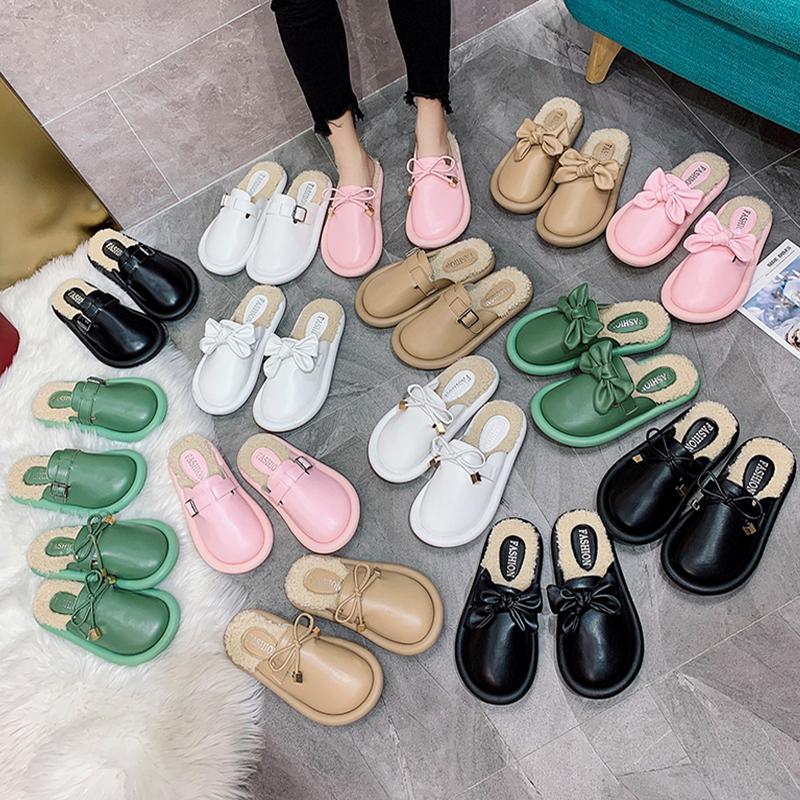 2019秋冬新款羊羔毛毛鞋面包鞋懒人室内外半托拖鞋网红穆勒女鞋潮