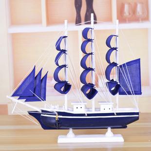 饰船开学毕业生日礼物 实木帆船模型客厅室内工艺船摆件手工船模装