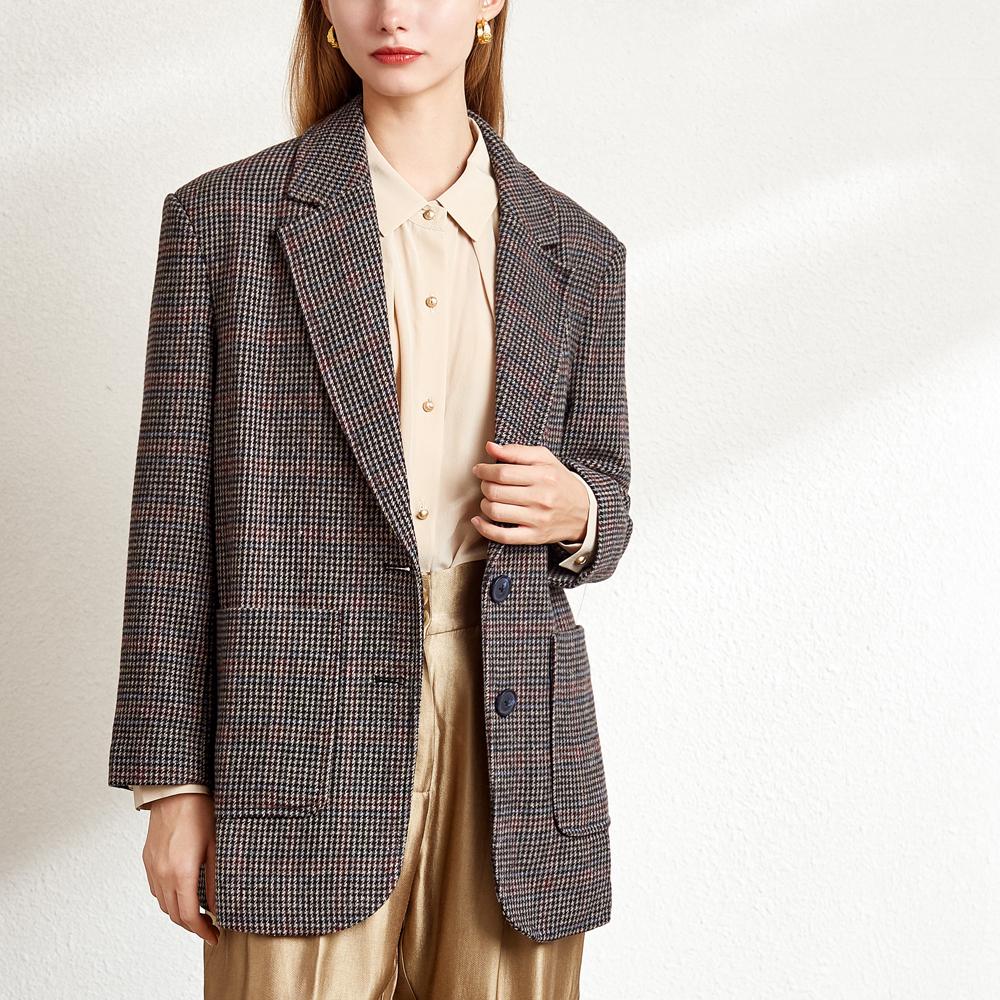 与言原作小格子单排扣格纹深棕西服小西装上衣外套2020秋新款女装