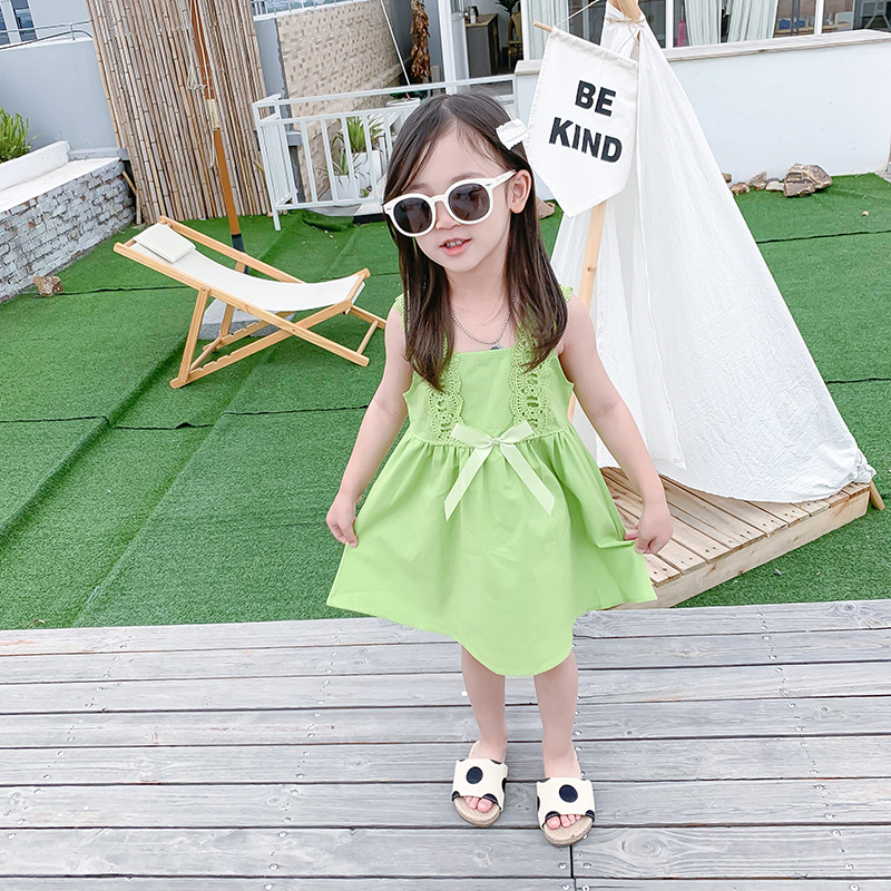 2020夏季新款韩版女童童裙中小童可爱公主时尚潮流花边肩带背心裙