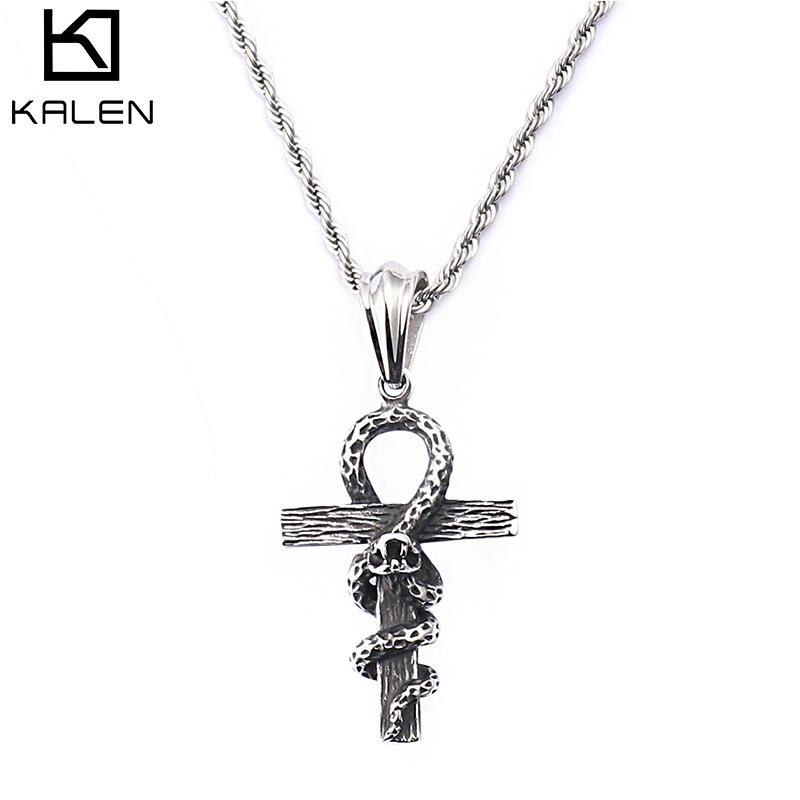 316网络时尚个性哥特式夸张蛇缠十字架吊坠项链钛钢铸造