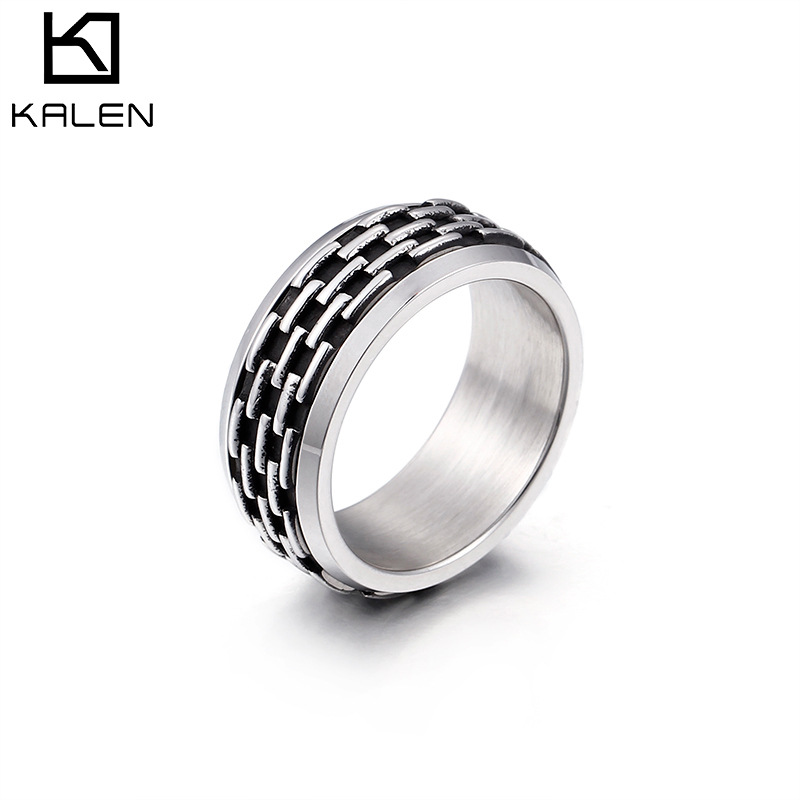 European and American punk fashion domineering rock & roll Goethe ring bronze color stainless steel mens ring