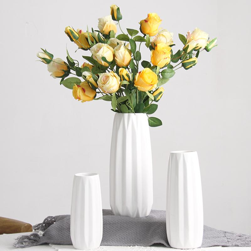 陶瓷花瓶小清新水培茶几插花干花简约白现代北欧客厅家居装饰摆件