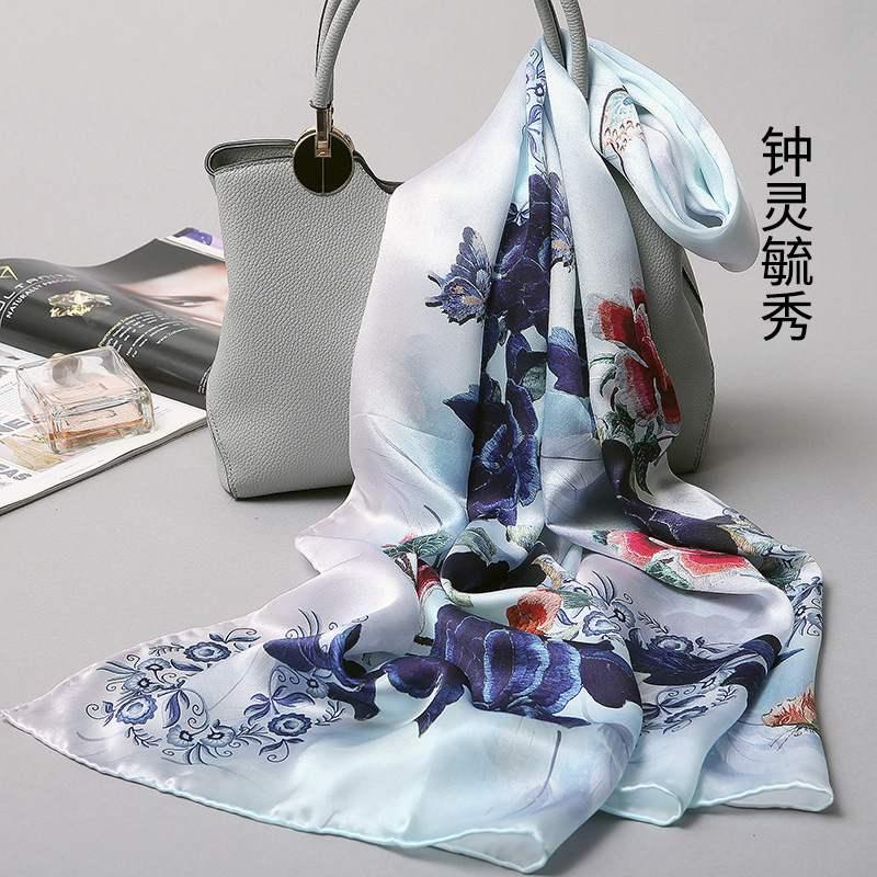日本购丝巾女冬天百搭春秋冬季杭州丝绸桑蚕丝围巾100%真丝披肩
