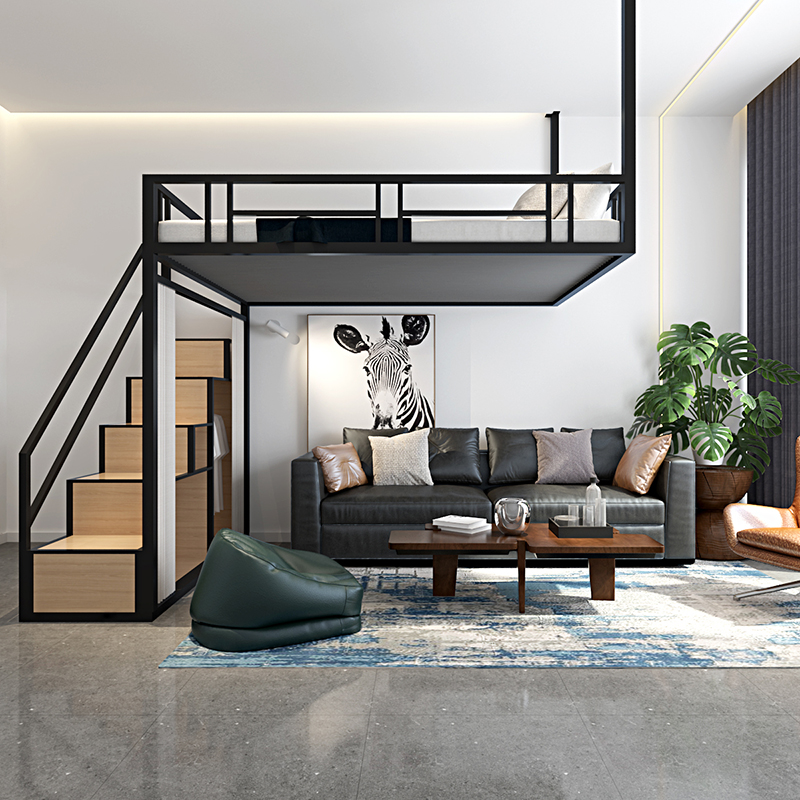 Suspended multi-function iron frame hammock small family loft bed hanging wall bed loft new apartment elevated bed
