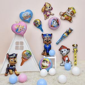 儿童宝宝生日可爱卡通铝膜小狗立大功气球手持棒装饰布置巡逻