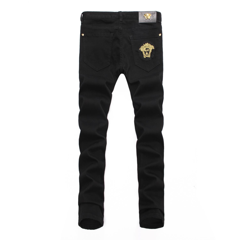 Europe 2020 print embroidered fashion jeans men dumisa Black Slim legged mens pants