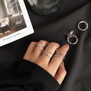 ins 四件套时尚个性网红戒指女小众设计超仙冷淡风套装食指关节戒
