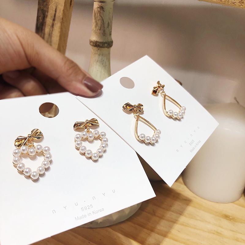11月14日最新优惠气质网红同款心形蝴蝶结珍珠女耳环