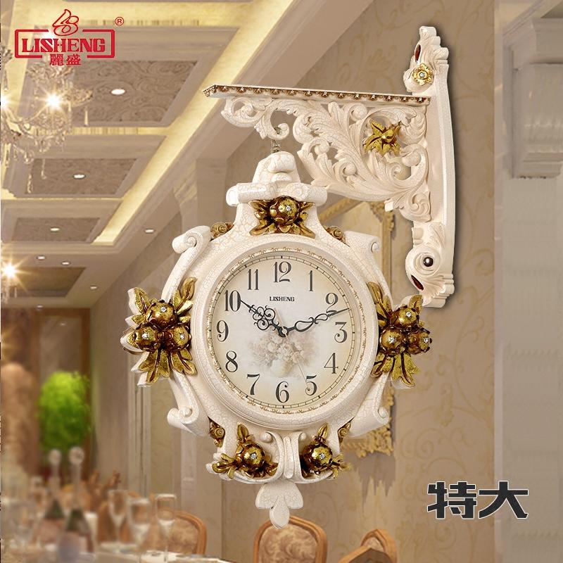 欧式豪华时钟双面挂钟客厅两面钟表静音创意超大号美式复古壁挂表 Изображение 1