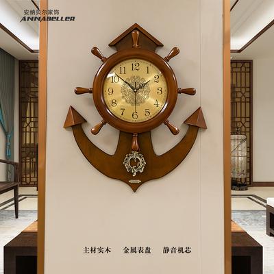实木船舵挂钟客厅新中式时钟家用钟表创意大气美式装饰挂墙石英钟
