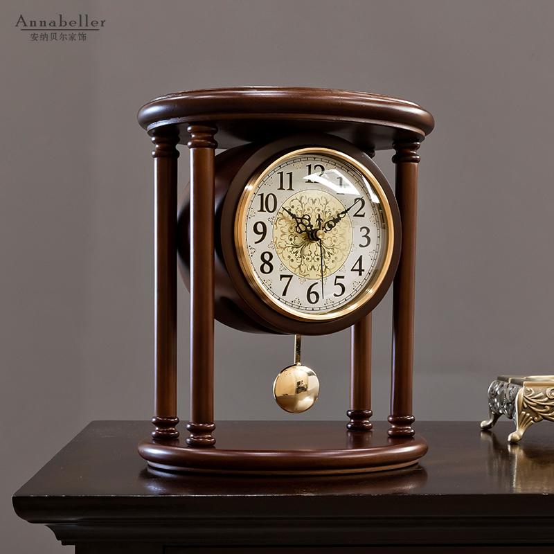 中式复古台钟创意时钟桌面座钟客厅表摆台式家用欧式坐钟钟表摆件 Изображение 1