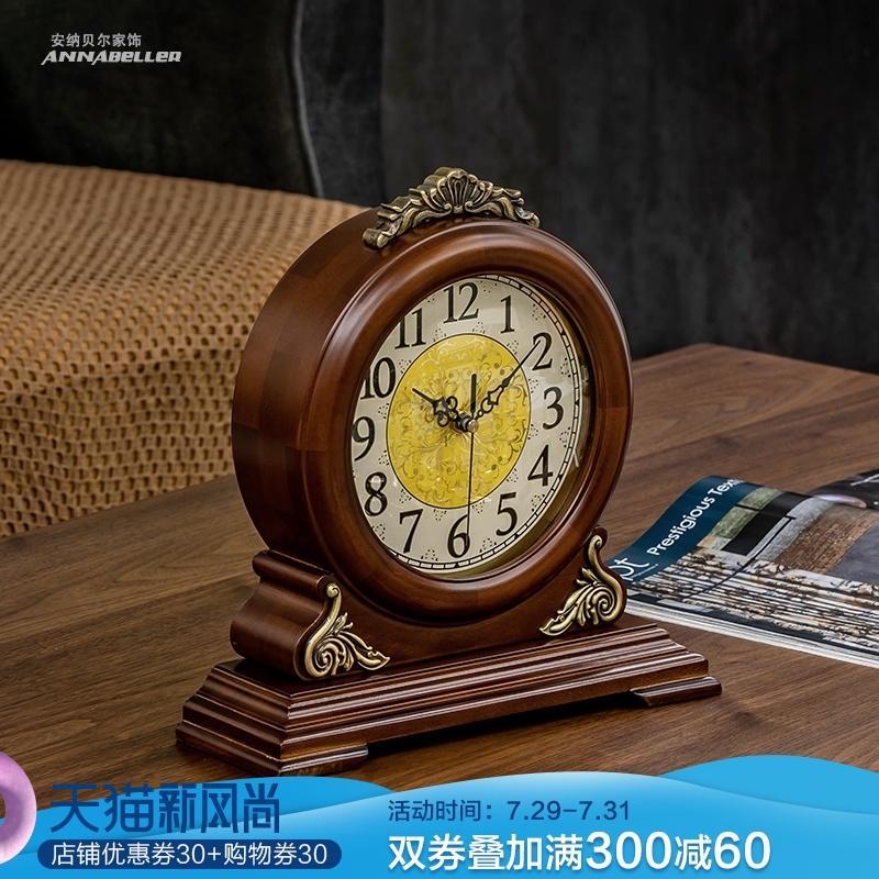 欧式钟表座钟台钟客厅实木创意静音台式复古时钟美式桌面坐钟摆件 Изображение 1