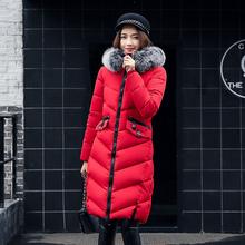 2017新款棉衣女中长款修身显瘦羽绒棉服时尚毛领加厚保暖外套冬装