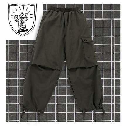 【滑板少女】中性风大口袋束口系带机能工装裤休闲裤学生女潮