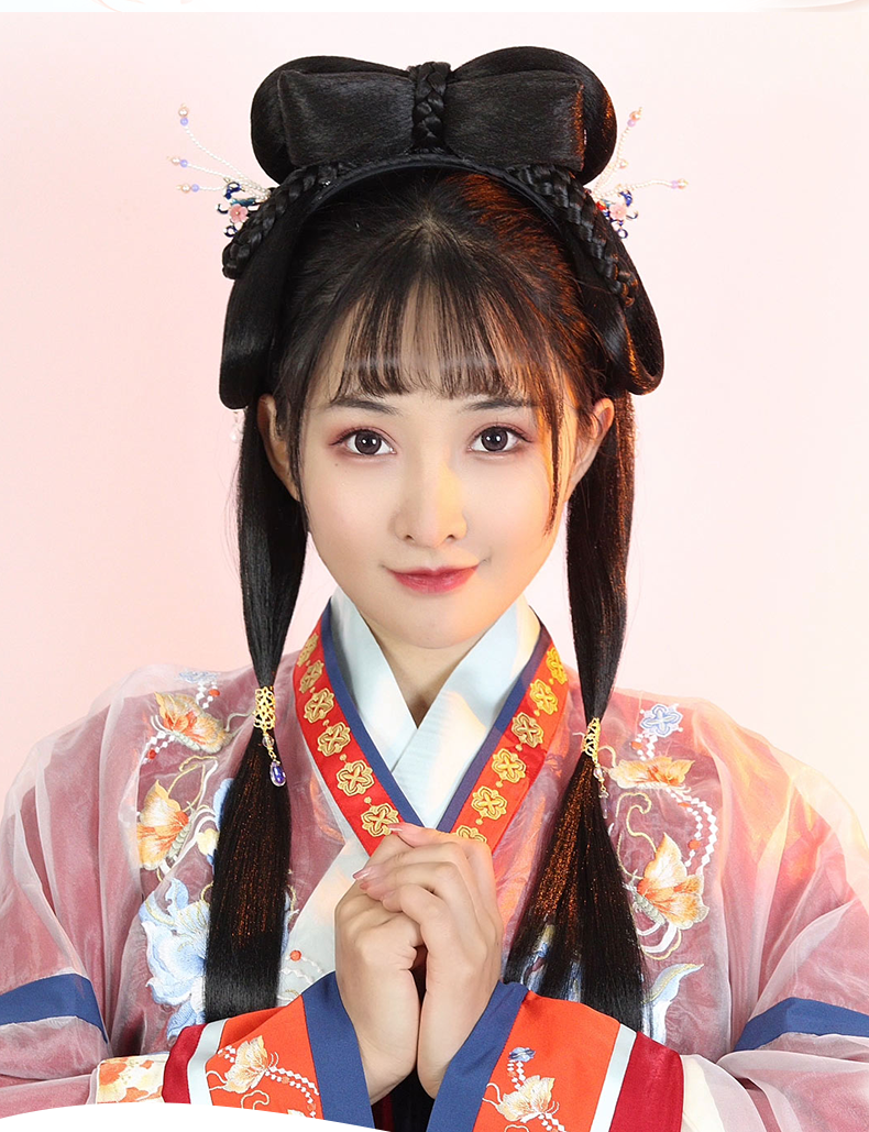 Hanfu wig integrated ancient style hair bun lazy hair hoop womens antique style full head set hairstyle high temperature silk