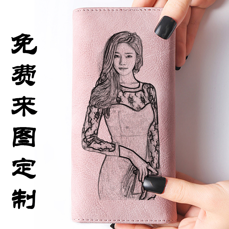 Wallet womens long Japanese and Korean multi-functional card holder with deer head zipper buckle two fold large capacity personalized photo